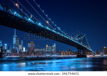 New York city bridges and Skyline - stock photo