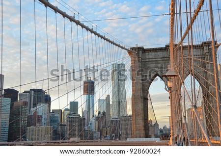 New York City, Brooklyn Bridge and lower Manhattan - stock photo