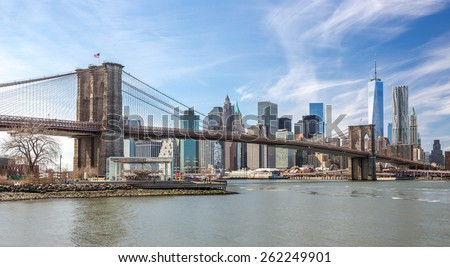 New York City Brooklyn Bridge Manhattan buildings skyline - stock photo