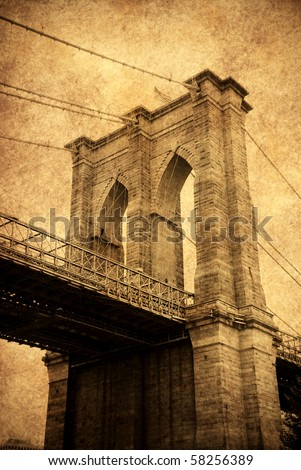 New York City Brooklyn bridge old fashion style close up. - stock photo
