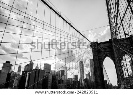 New York City, Brooklyn Bridge skyline black and white - stock photo