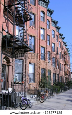 New York City brownstones - stock photo