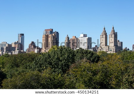 New York City buildings and central park trees view from a roof  - stock photo