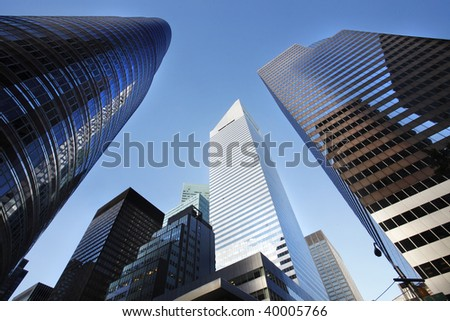 New York City buildings, looking up - stock photo