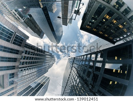 New York City buildings, upward view. - stock photo