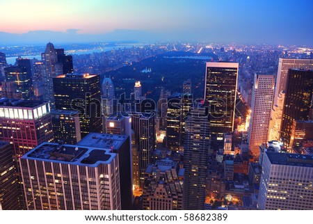 New York City Central Park aerial view panorama with Manhattan skyline and skyscrapers at dusk - stock photo