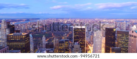 New York City Central Park aerial view with Manhattan skyline and skyscrapers at dusk - stock photo