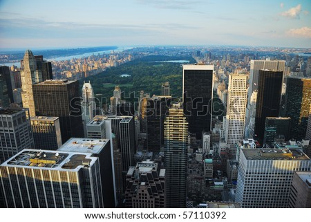 New York City central park aerial view with skyscrapers