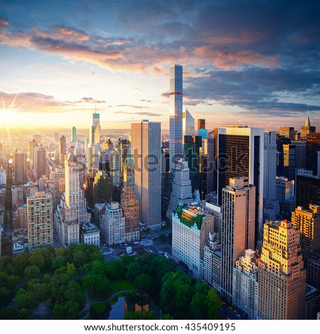 New York City Central Park at sunrise - Manhattan aerial photo - stock photo