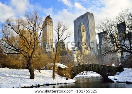New York City - Central Park in winter -Gapstow bridge - stock photo