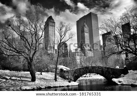New York City - Central Park in winter -Gapstow bridge - stock photo