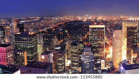 New York City Central Park panorama aerial view at night. - stock photo