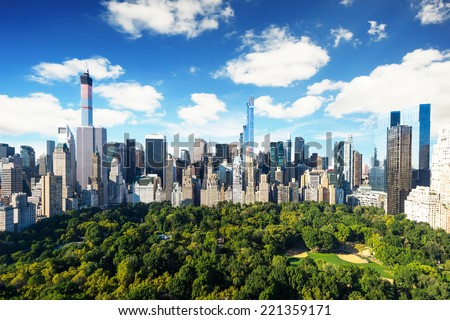 New York City - central park view to manhattan with park at sunny day - amazing birds view - stock photo