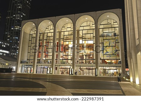 NEW YORK CITY - CIRCA OCTOBER 2014. People attend evening event at Lincoln Center, which is world renowned as a leader in the performing arts, hosting many of the best artists in its venues. - stock photo