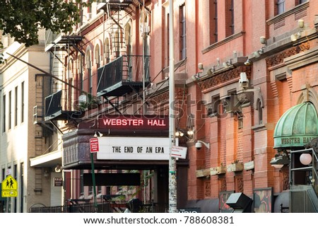 NEW YORK CITY - CIRCA 2017: Sign in front of Webster Hall announces the end of an era with the closing of the historic venue in the East Village of Manhattan, New York City, August 2017.