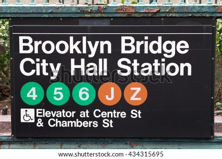 NEW YORK CITY - CIRCA 2016: The Brooklyn Bridge City Hall subway sign stands above the station entrance in New York City 2016. The NYC subway provides convenient access to the 5 boroughs. - stock photo