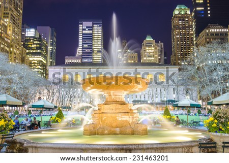 New York City cityscape at Bryant Park in Manhattan. - stock photo