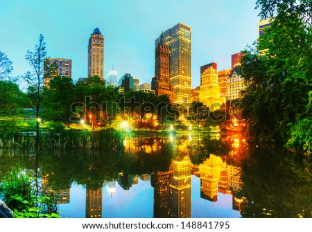 New York City cityscape in the night as seen from Central Park - stock photo