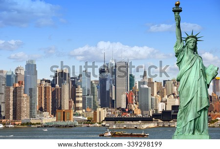 new york city cityscape skyline with statue of liberty. epic new york skyline over manhattan with statue of liberty over hudson river. famous american landmark and usa travel location.