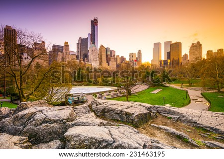 New York City cityscape view from Central Park. - stock photo