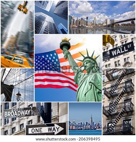 New York city collage, USA - stock photo
