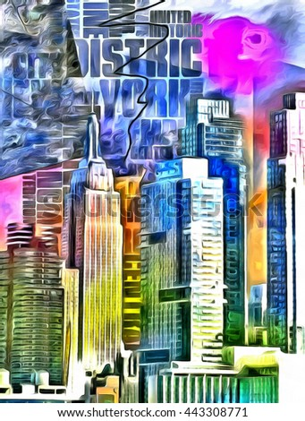 New York City Colorful Abstract Painting - stock photo