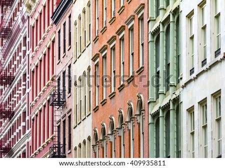 New York City colorful apartment buildings in Soho Manhattan - stock photo