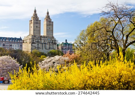 NEW YORK CITY - Colorful Spring Landscape in Central Park - stock photo