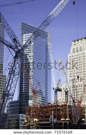 NEW YORK CITY - DEC 16: Construction at the site of the September 11,2001 bombing of the World Trade Center on December 16, 2010 in New York City. - stock photo