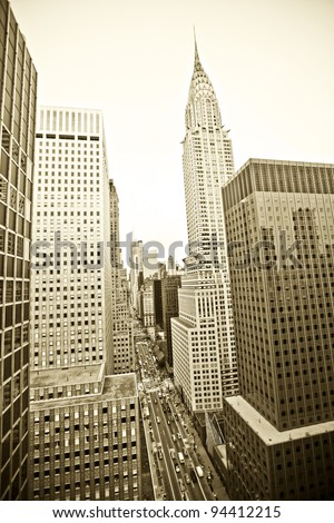 NEW YORK CITY - DEC 27: Grand Central and Chrysler Building on 42nd Street, is a famous and busy intersection for taxi cabs, tourists and commuters, December 27th, 2011 in Manhattan, New York City. - stock photo