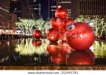 NEW YORK CITY - DEC. 25, 2014: New York City landmark, Radio City Music Hall in Rockefeller Center decorated with Christmas decorations in Midtown, Manhattan NYC. - stock photo