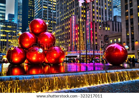NEW YORK CITY - DEC. 03, 2013: New York City landmark, Radio City Music Hall in Rockefeller Center as seen on Dec. 03, 2013 decorated with Christmas decorations in Midtown Manhattan NYC, USA - stock photo