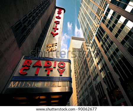NEW YORK CITY - DEC. 2:  New York City landmark, Radio City Music Hall in Rockefeller Center as seen on Dec. 2, 2011 is home of the Rockettes and famous annual Christmas Spectacular. - stock photo