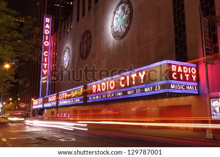 NEW YORK CITY - DEC. 25: Radio City Music Hall in Rockefeller Center is home of the Rockettes and famous annual Christmas Spectacular on Dec. 25, 2010, New York City, NY. - stock photo