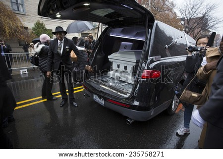 NEW YORK CITY - DECEMBER 6 2014: funeral services for Akai Gurley, shot to death by NYPD rookie officer Peter Liang, were held at Brown Baptist Church in Brooklyn.