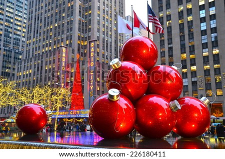 NEW YORK CITY - DECEMBER 17, 2013: Giant Christmas Ornaments in Midtown Manhattan on December 17, 2013, New York City, USA. - stock photo