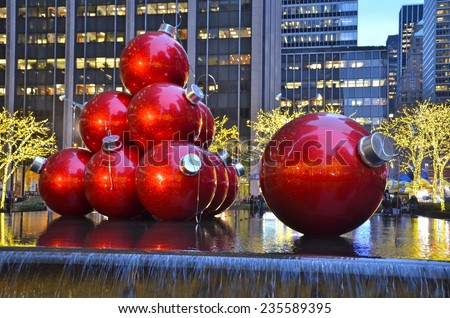 NEW YORK CITY - DECEMBER 5, 2014: Giant Christmas Ornaments in Midtown Manhattan on December 5, 2014, New York City, USA. - stock photo