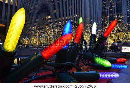 NEW YORK CITY - DECEMBER 5, 2014: Giant Christmas Ornaments in Midtown Manhattan on December 5, 2014, New York City, USA. - stock photo