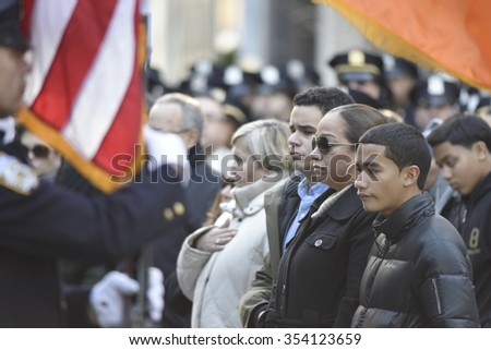 NEW YORK CITY - DECEMBER 20 2015: mayor de Blasio joined the families of Wenjian Liu and Rafael Ramos to dedicate a plaque in their memory at the 84th precinct. Rafael Ramos family