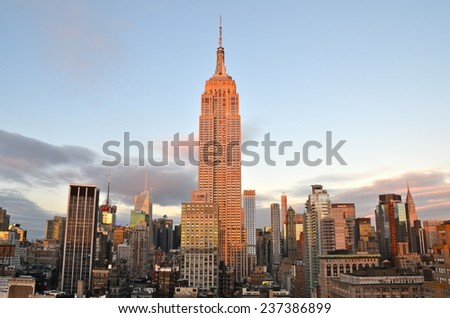 NEW YORK CITY - DECEMBER 12, 2014: New York City Manhattan midtown view with Empire State Building, New York City, USA. - stock photo
