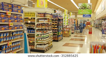 NEW YORK CITY - DECEMBER 16 2015: Stop & Shop, a retail grocer with 422 locations throughout the northeastern US, recently took over a Pathmark grocery location in the Atlantic Avenue Mall. - stock photo