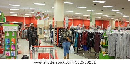 NEW YORK CITY - DECEMBER 16 2015: Target Corporation is a US retailer with headquarters in Minneapolis, MN. It is the nation's second largest retailer after Walmart. Interior of Atlantic Avenue store. - stock photo