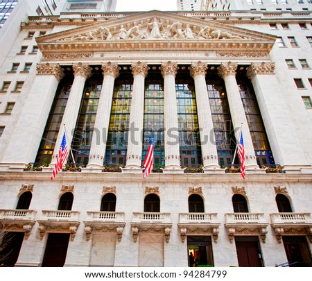NEW YORK CITY - DECEMBER 27: The New york Stock Exchange December 27, 2011 in New York, NY. It is the largest exchange in the world by market capitalization. - stock photo