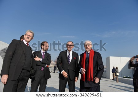 NEW YORK CITY - DECEMBER 10 2015: the 67th anniversary of the UN Univeral Declaration of Human Rights observed with laying of wreath at Four Freedoms Park. UN commissioners & diplomats.