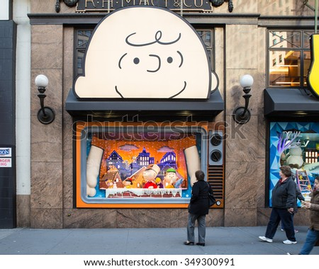 NEW YORK CITY - DECEMBER 4, 2014:  View of Macy's Herald Square in midtown Manhattan with annual Christmas holiday window display. - stock photo