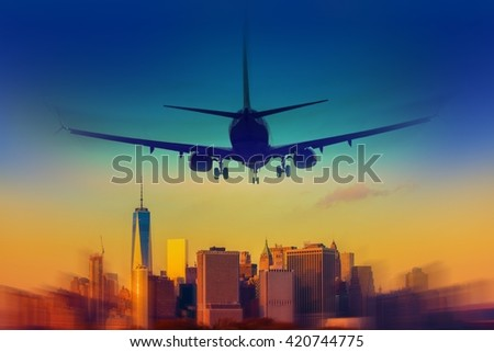 New York City Destination Abstract Concept. Landing Airplane in the New York.