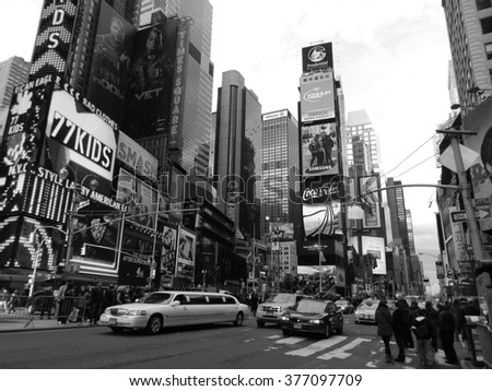 NEW YORK CITY -Dicember 13 : Times Square, featured with Broadway Theaters , is a symbol of New York City and the United States, Dicember 13, 2013 in Manhattan, New York City. USA.