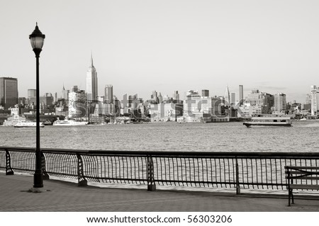 New York City downtown from Hoboken waterfront - stock photo