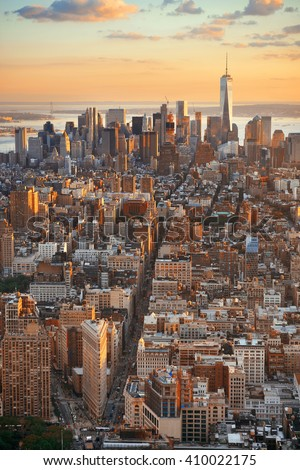New York City downtown sunset with skyline view. - stock photo