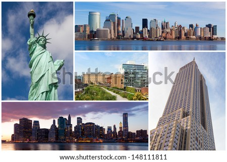 New york city famous landmarks picture collage - USA - stock photo
